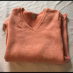 LL Bean Cotton Peach V neck sweater